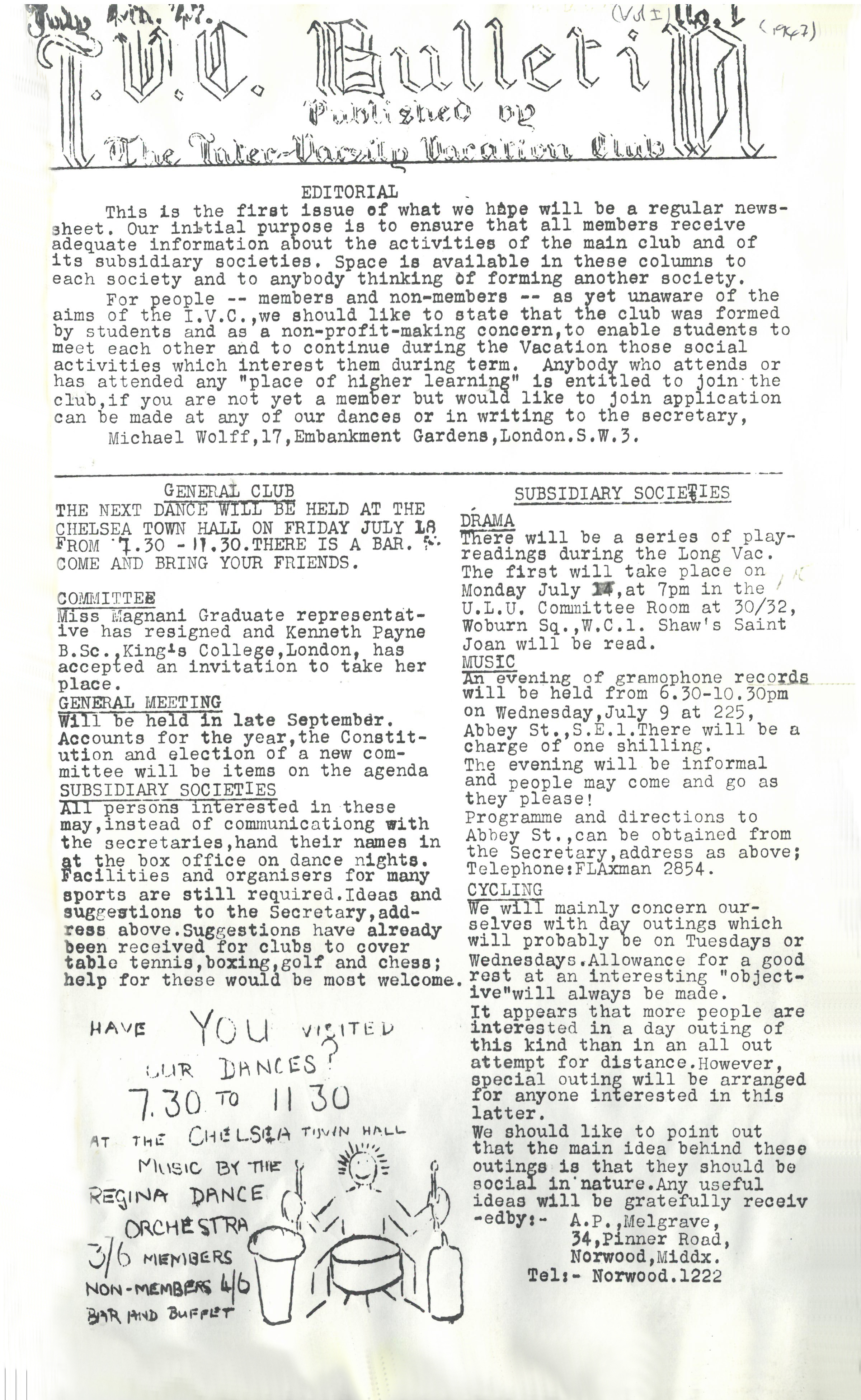 First IVC Bulletin - July 1947